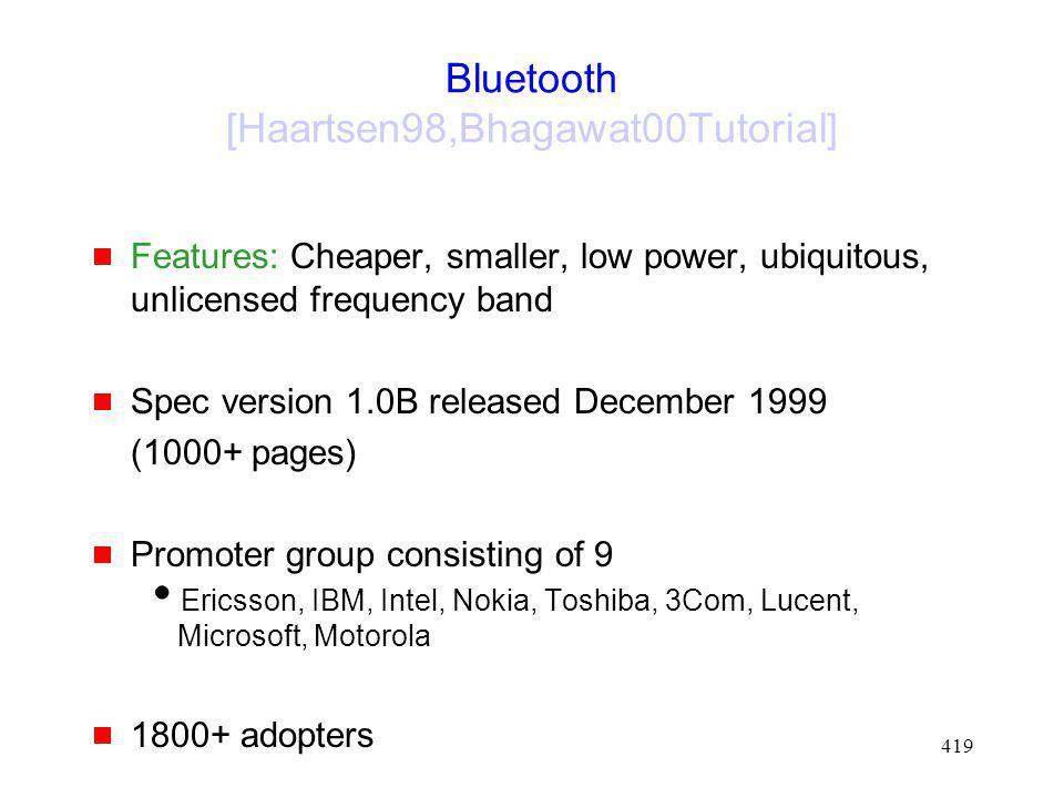 Bluetooth [Haartsen98,Bhagawat00Tutorial]